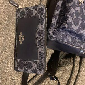 Authentic denim coach book bag/wallet